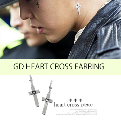 K-POP IDOL STAR GD&TOPファッション スタイル★ Metal heart cross pierce