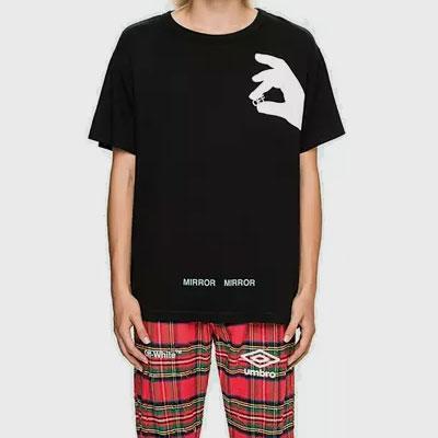フィンガーシンボルプリントショートスリーブT-シャツ/半袖