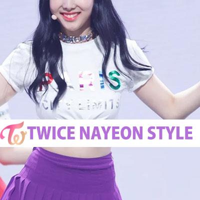 【FEMININE : BLACK LABEL】TWICE 着用パリスプリントTシャツ/半袖/ホワイト&ブラック/TWICE NAYEON STYLE