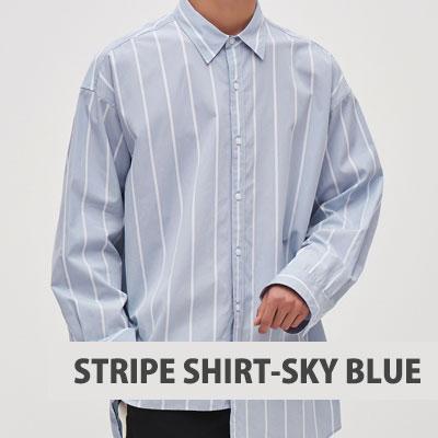 [8SECONDS]/2017 SS 8 X GD's PICK (正規品)スカイブルーアンバランスストライプシャツ