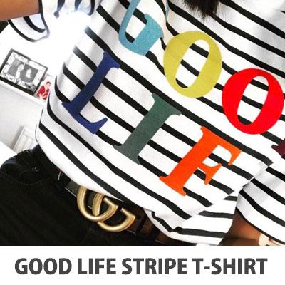 【FEMININE : BLACK LABEL】2017 S / S GOOD LIFEプリントストライプTシャツ
