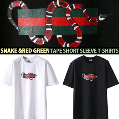 スネーク&レッド・グリーンテープショートスリーブTシャツ/半袖