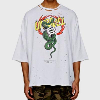ドラゴン&ボーンハンドディストリロイドショートスリーブTシャツ/半袖