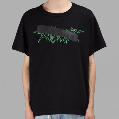 グリーンロゴ&テープショートスリーブTシャツ/半袖