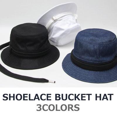 靴紐バケットハット/帽子/3カラー