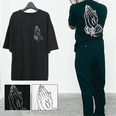 祈りプリントショートスリーブTシャツ/半袖