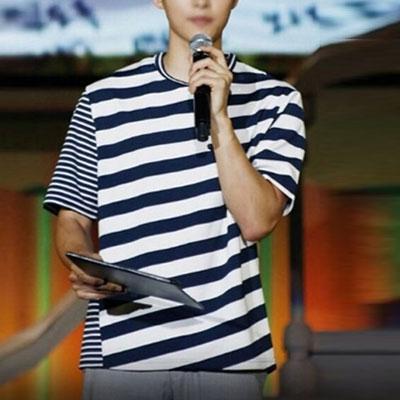 韓国俳優ソン・ジュンギst.2タイプのストライプショートスリーブTシャツ/半袖