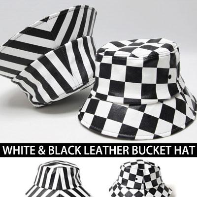 ホワイト&ブラックレジャーパターンバケットハット