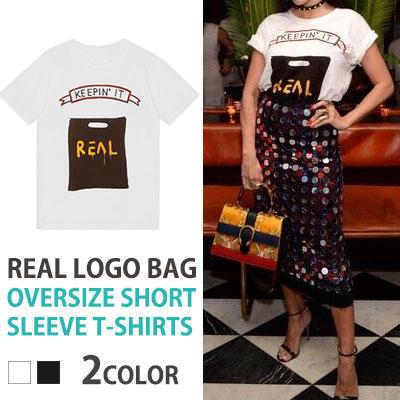 リアルロゴバックオーバーサイズショートスリーブTシャツ/半袖