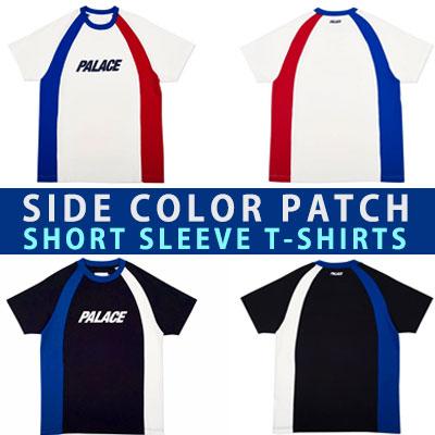 サイドカラーパッチショートスリーブTシャツ/半袖