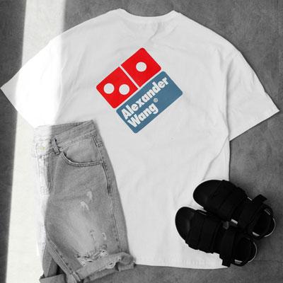 ブルー&レッドボックスショートスリーブTシャツ/半袖