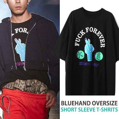 ブルーハンドオーバーサイズショートスリーブTシャツ/半袖