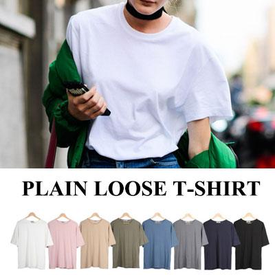 [BASIC SIMPLE LINE] 無地ルーズTシャツ/半袖、8色