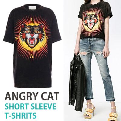 アングリーキャットプリントオーバーサイズショートスリーブtシャツ/半袖