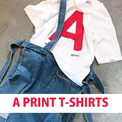 """A""ロゴプリントオーバーサイズショートスリーブTシャツ(ブラック&ホワイト)"