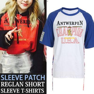 スリーブパッチポイントナグランショートスリーブTシャツ/半袖
