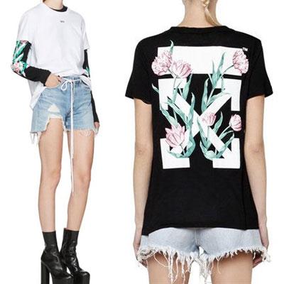 ローズフラワーバックプリント半袖Tシャツ(WHITE,BLACK)