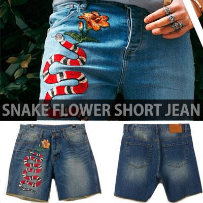 スネークフラワー刺繍ショートジーンズ/デニム