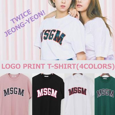 TWICEジョンヨンスタイル!ロゴプリントTシャツ(ホワイト/ピンク/グリーン/ブラック)