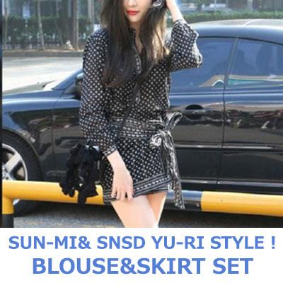 【FEMININE : BLACK LABEL】SUN-MI&YU-RI スタイル! フラワーパターンブラウス&スカートセット