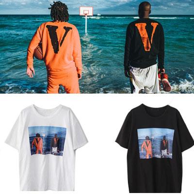 [V]のロゴ&メンズプリントショートスリーブTシャツ