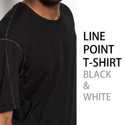 ライン刺繍ポイントTシャツ/ブラック&ホワイト