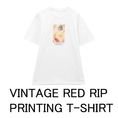 ヴィンテージレッドリップTシャツ/ホワイト