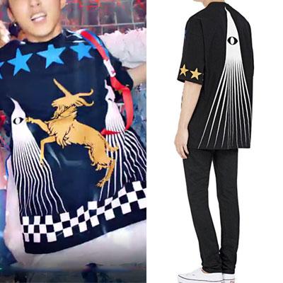 k-pop idol ikon st.ブルースター・やぎプリントショートスリーブTシャツ/半袖