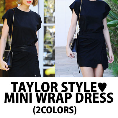【FEMININE : BLACK LABEL】TAYLOR STYLE!ミニラップドレス(ブラック&グレー)