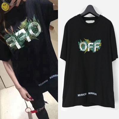 OFFロゴ&リーフ刺繍ショートスリーブ/半袖