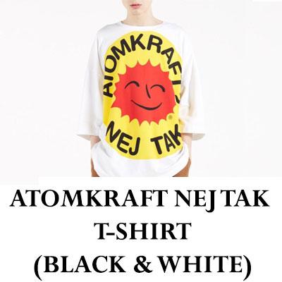 ATOMKRAFTレタリングTシャツ/半袖(ブラック&ホワイト)