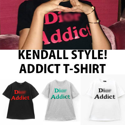 【FEMININE : BLACK LABEL】KENDALL STYLE! ADDICT プリントTシャツ(ブラック/ホワイト/グレー)