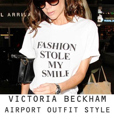 【FEMININE : BLACK LABEL】VICTORIA BECKHAM STYLE! プリントTシャツ(ブラック&ホワイト)