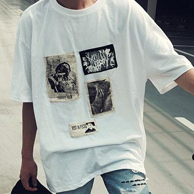 ヴィンテージウーマンパッチショートスリーブTシャツ/半袖