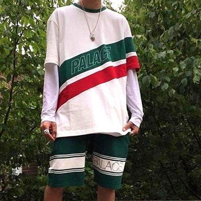 グリーン&レッドラインショートスリーブTシャツ/半袖