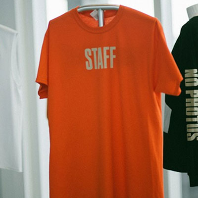 BIEBER STYLE! STAFF MIAMIプリントTシャツ/オレンジ/ L,XL