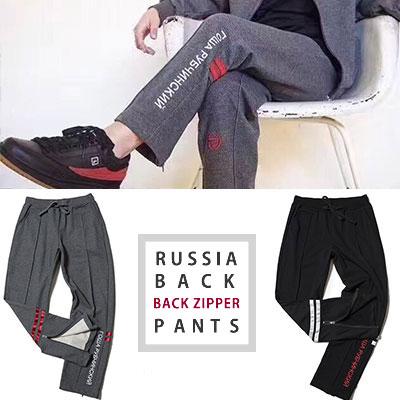 ロシアのロゴブラックジッパートレーニングパンツ