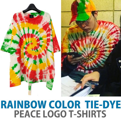 BIGBANG GD/g-dragonSANDARA st.レインボーカラー絞り染めピースロゴTシャツ/半袖
