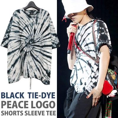 BIGBANG GD/g-dragon st.ブラック色タイピースロゴTシャツ/半袖