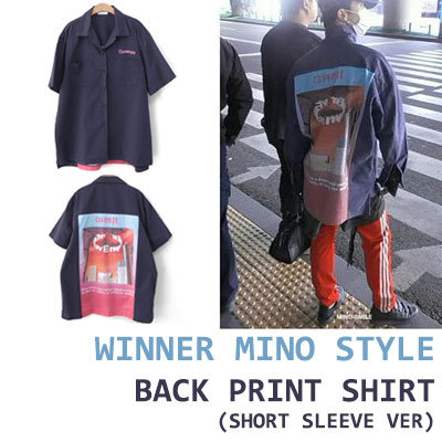 WINNER MINO STYLE! バックプリントコットンショートスリーブシャツ(ホワイト/ネイビー)