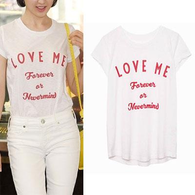 【FEMININE : BLACK LABEL】K-ACTRESS STYLE! LOVE ME レタリングTシャツ(ブラック/ホワイト/グレー)