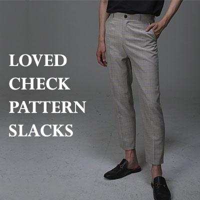 LOVED チェックパターンスラックス(ブラック/ベージュ)