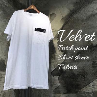 ベルベット・パッチポイントショートスリーブTシャツ/半袖