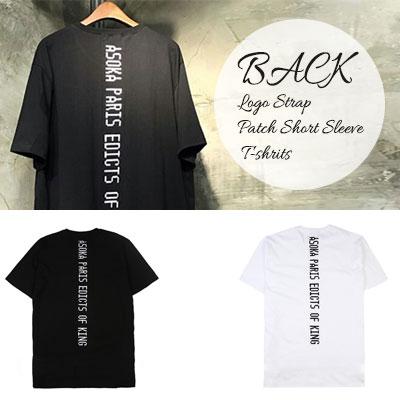 ブラックロゴストラップパッチショートスリーブTシャツ/半袖