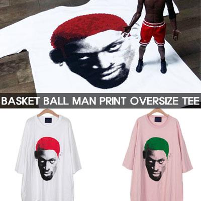 バスケットボールメンズプリントオーバーサイズショートスリーブTシャツ