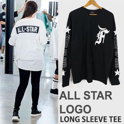 オールスターロゴプリントロングスリーブTシャツ(ブラック/ホワイト)