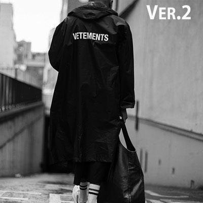 (VER2)バックロゴポイントオーバーサイズレインコート(ブラック)
