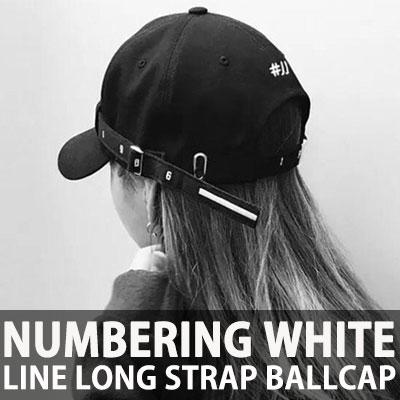 ナンバリングホワイトラインロゴロングストラップボールキャップ