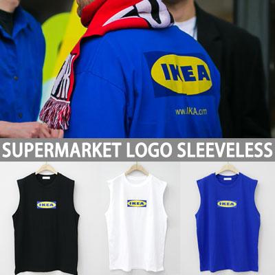 スーパーマーケットのロゴポイントノースリーブTシャツ(ホワイト/ブラック/ブルー)