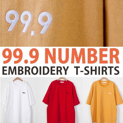 99.9刺繍半袖Tシャツ(ホワイト/イエロー/レッド)